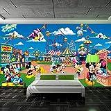 MGQSS 3D Wandbild selbstklebende Tapete Vergnügungspark Paradies Cartoon Maus 3D Kinderzimmer Tapete Poster Fototapete Junge Mädchen Schlafzimmer Raumdekoration Umweltschutz(B)200x(H)150...