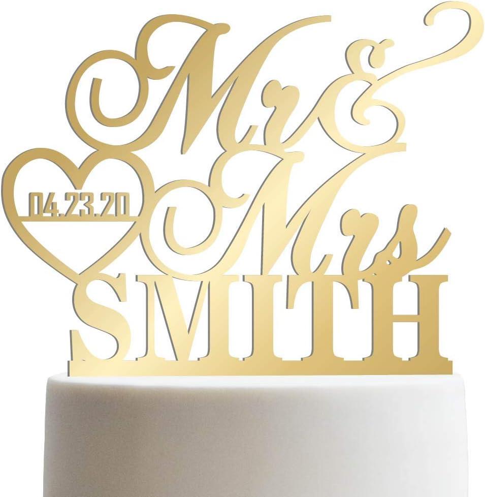 Rustic Cake Topper Elegant Metallic Custom Personalized Mr /& Mrs Names Topper Custom Calligraphy Mr and Mrs Wedding Cake Topper