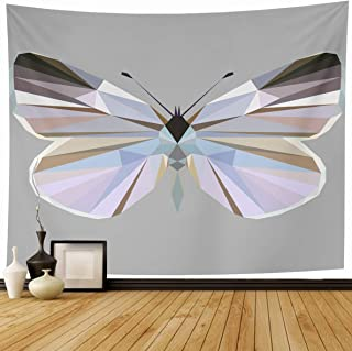 Ahawoso Tapestry 80 x 60 Inches Symmetrical Abstract Butterfly Polygonal Low Poly Nature Origami Delicate Pink Character Color Home Decor Wall Hanging Print for Living Room Bedroom Dorm