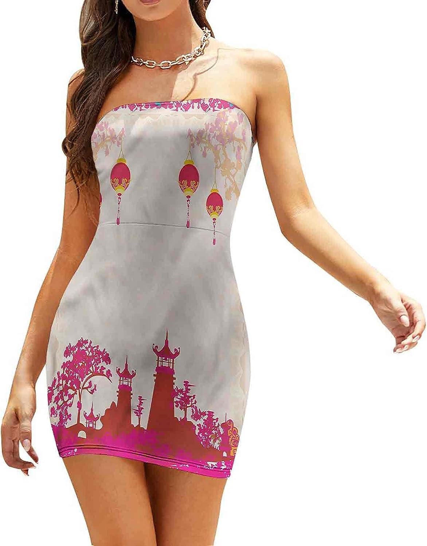 Women's Summer Strapless Dresses Wooden Dock Over Lake Dresses