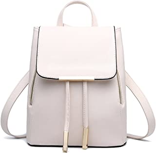 Fashion Shoulder Bag PU Leather Women Girls Ladies Backpack Travel Bag (Off White) by OULII
