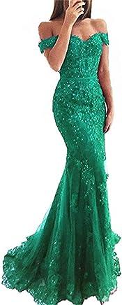 YSMei Women's Long Mermaid Evening Gown Elegant Lace Prom Dress 2019 YEV164
