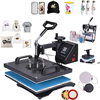 QWERTOUY Double Display Control New 8 in 1 Combo Heat Press Machine Sublimation Thermal Printer for Mug/Cap/T Shirt/Phone Case/Pen
