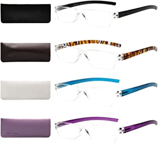 Liansan Designer Readers 4 Pairs Frameless Plastic Frame Reading Glasses for Men and Women L2220(+2.50)