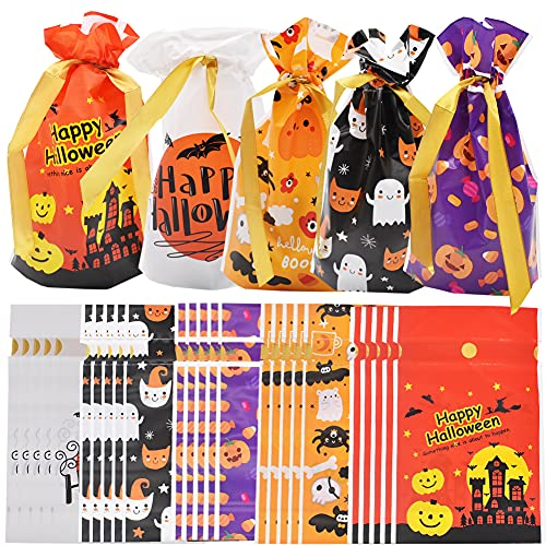 50Pcs Halloween Candy Bag, Party Candy Plastic Bag, Trick or Treat If You Don't Give Sugar, Plastic Snack Bag, Halloween Party Supplies, Can Be Used for Halloween Party, Birthday, Etc