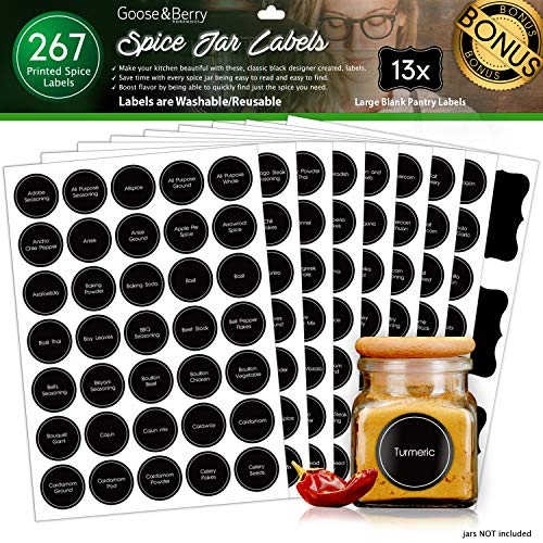 GBH 267 Round 1.5' Black Chalkboard Style Preprinted Spice Jar Labels - Organize Your Kitchen - Waterproof & Tear-Resistant - Including 1 Sheet of 2.75' X 1.5' Blank Writable Pantry Stickers