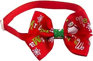 Wicemoon Perro Mascota Pajarita Corbatas para Gatos Accesorios para Mascotas Decoración de Navidad Rojo Ajustable 28-36cm