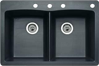 Blanco 440220-4 Diamond 4-Hole Double-Basin Drop-In or Undermount Granite Kitchen Sink, Anthracite
