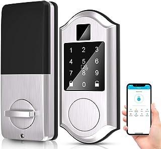 Narpult Keyless Smart Door Lock, Electronic Smart Deadbolt Locks, Keypad Lock Featuring Auto-Lock, Compatible with Alexa. - No Fingerpint, Satin Nickel Silver