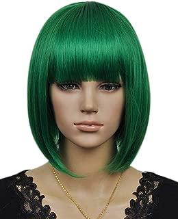 Kalyss Women's Cosplay Party Kanekalon Synthetic Fiber Short Straight Dark Green Bob Hair Full Wigs