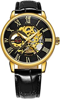 Caluxe Men's Mechanical Wrist Watch Hand-Wind Skeleton Waterproof Watches with Black Leather Band