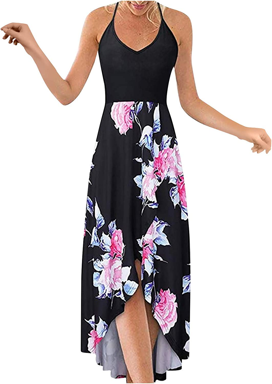 Plus Size Maxi Dresses for Women,Ladies Summer Dresses Casual Sleeveless Loose V-Neck Long Beach Party Dresses with Pockets