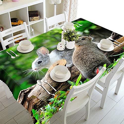 MinegRong Couverture de Table Basse rectangulaire Nappe 3D imperméable à la fête Autour de la Couverture de Cabinet Taille personnalisée Lièvre dans Les Bois Taie d'oreiller-Couleur 1220cm * 330cm