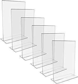 Belle Vous Soporte Expositor de Acrílico (6 Piezas) - A4 Soporte Folletos en Forma de T - Vertical Expositor Metacrilato Doble Lado para Presentación, Cartel, Menú, Foto - Expositor con Base Plana