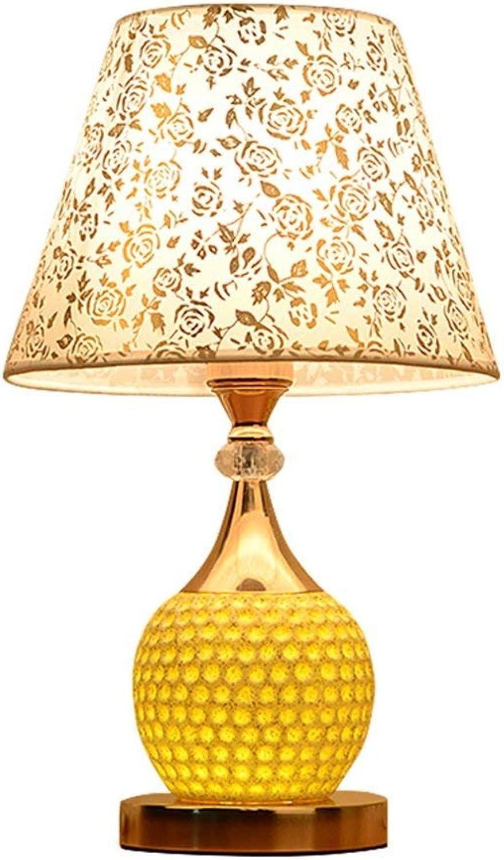 Tischlampe Europische moderne Keramik Schlafzimmer Nachttisch, Arbeitszimmer Wohnzimmer warmes Nachtlicht bedrucktes Tuch wei (Knopf-Bedienung, zwei obere und untere Licht)