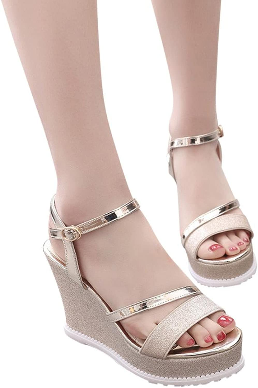 Fheaven Women Peep Toe Wedges Sandals Blingbling Slide Hasp Sandals Flatform shoes Brown