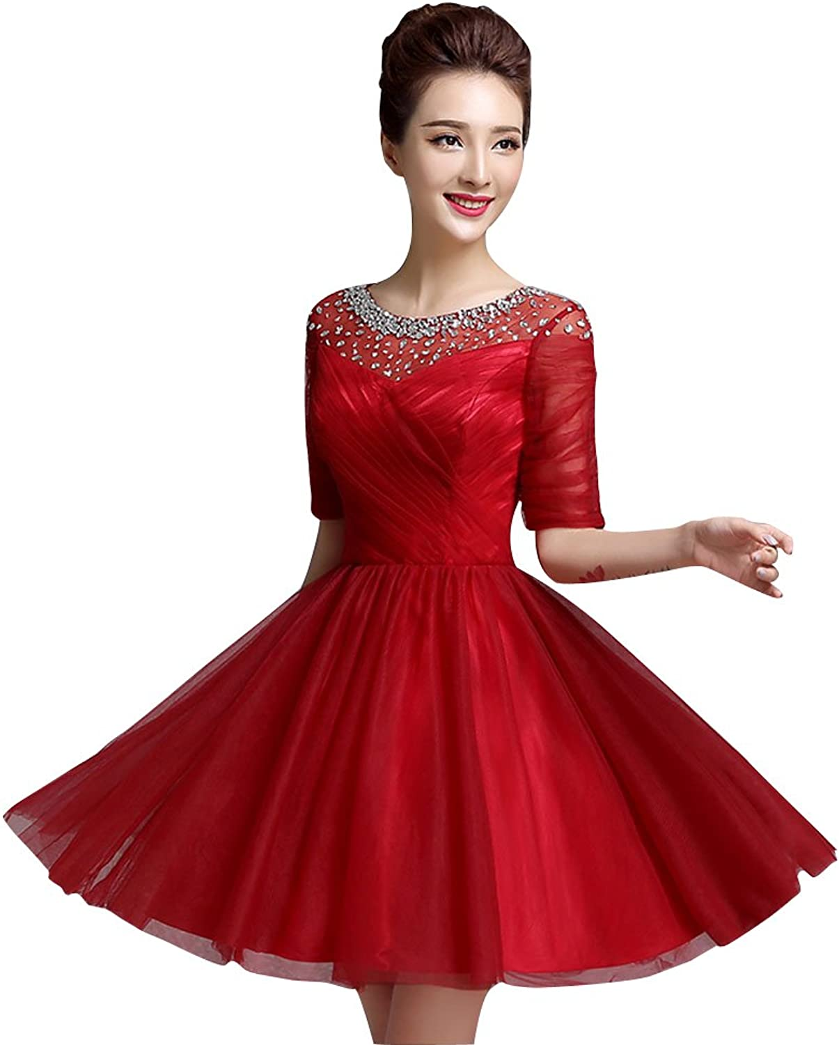 BeautyEmily Half Sleeve O Neck Rhinestone Pleated Bridesmaid Gowns Red