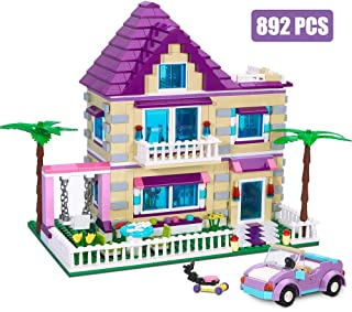 BRICK STORY Girls Friends House Building Kit with 4 Mini Dolls, Big Villa Building Blocks Set with a Convertible Car Toy for Kids Aged 6 and Up, 892 PCS