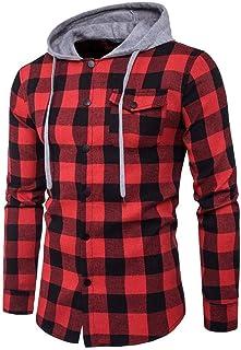 Ninasill Men's Casual Plaid Shirts Long Sleeve Pullover Shirts Hooded