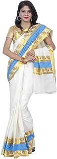 Women's Kerala Kasavu Peacock Lace Brocade Work Pallu Saree With Blouse