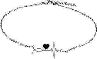 Flongo Tobillera de Electrocardiograma Pulsera de Corazón, Acero Inoxidable Pulsera de Mujer Adorable, Preciosa Tobillera ...