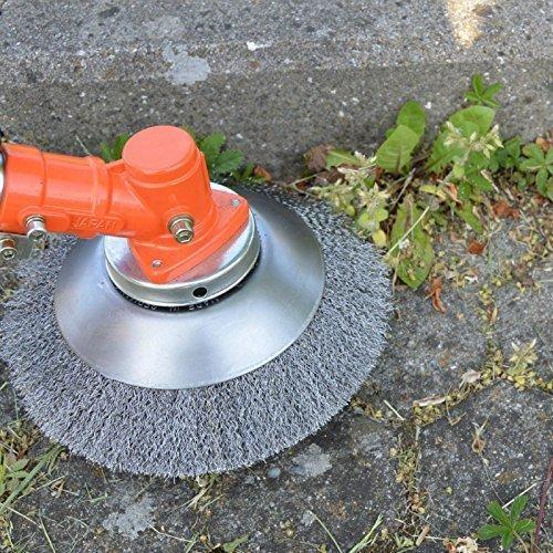 Garden-Line by Tazado Profi Unkrautbürste, Fugenbürste Motorsense weich Bohrung 25,4mm, Durchmesser 200mm. Borsten aus HSS-Stahl. Bürsten passen für 99% Aller Motorsensen auf dem Markt ! (weich)