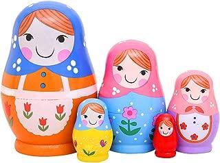 Monnmo 5Pcs Handmade Wooden Russian Nesting Dolls Matryoshka Dolls - Stacking Doll Set of 5 from 4.3