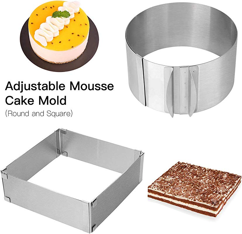 Adjustable Cake Mold Ring 2 Piece Set 6 12 Inch Cake Mousse Ring Stainless Steel Round Square