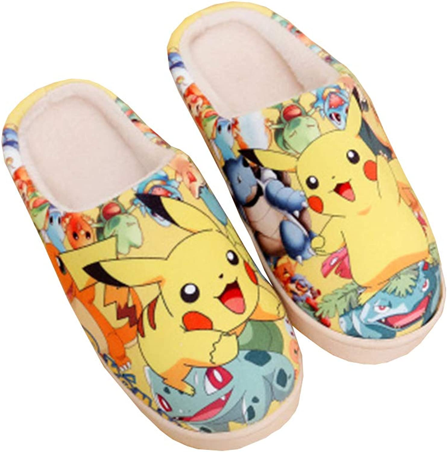 Winter Cotton Slippers Cartoon Pikachu Anti-Slip Home Rubber Soles Ultra Warm Slipper Indoor Outdoor Slip On shoes