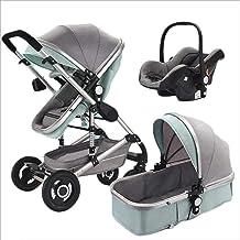 Hmvlw Silla de Paseo 3-en-1 Cochecito for niños, de Gran Capacidad for Sentarse y acostarse, de Dos vías de Alta a Prueba de Golpes Paisaje Carro de bebé del niño (Color : Green)