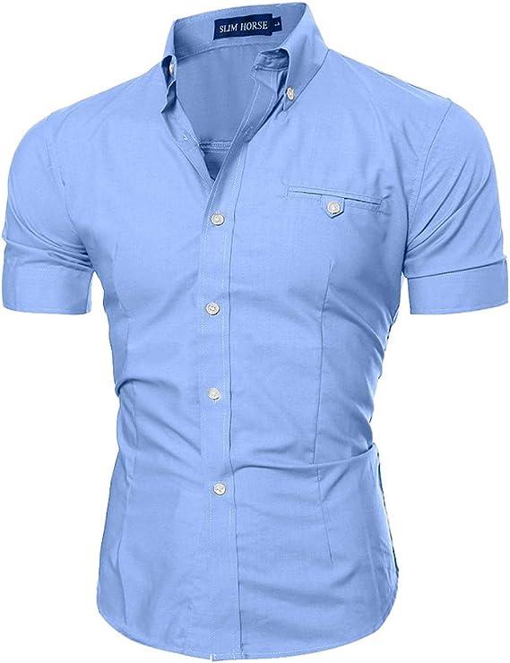 Camisa Manga Corta Hombre Slim Fit Transpirable para Negocios ...