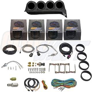 GlowShift Diesel Gauge Package for 1986-1993 Dodge Ram Cummins First 1st Gen - Tinted 7 Color 60 PSI Boost, 1500 F Pyrometer EGT, 30 PSI Fuel Pressure & Transmission Temp Gauges - Black Quad Dash Pod