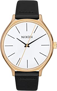 NIXON Clique Leather A1250-50m Water Resistant Women's Analog Classic Watch (38mm Watch Face, 17mm-15mm Leather Band)