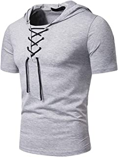 Hooded Short Sleeve Top for Men丨Summer Newest Lace-up Collar Solid T Shirt丨Mens Loose Hoodie Tops Pullover Plus Size