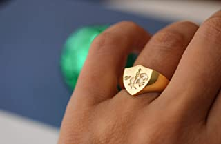 Gold Signet Ring Engraved with Napoleon Crossing the Alps, Mens Gold Signet Rings, Gold Signet Ring Womens, Family Crest Rings, Shield Ring