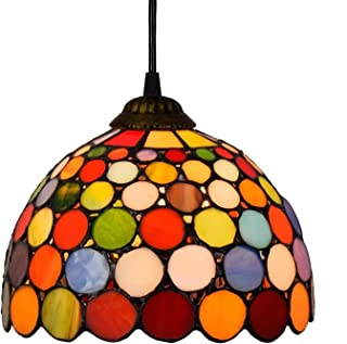 8 Inch Creative Stained Colored Dots Glass Small Pendant Light High Quality