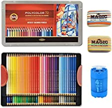 KOH-I-NOOR Artist's Set of Polycolor 72 Coloured Pencils + 2xEraser + Sharpener 4 in1