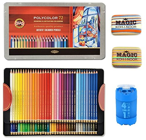 KOH-I-NOOR Artist's Set of Polycolor 72 Coloured Pencils + 2xEraser + Sharpener 4 in1. Offer by Yuristore.
