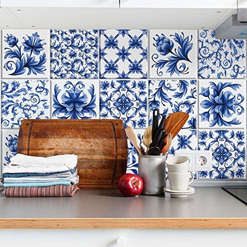 15 (Piezas) Adhesivo para Azulejos 20x20 cm - PS00067 - Azul arabescos - Adhesivo Decorativo para Azulejos para baño y Cocina - Stickers Azulejos - Collage de Azulejos