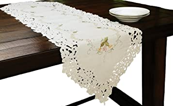Xia Home Fashions Bordeaux Embroidered Cutwork Table Runner, 15-Inch by 72-Inch