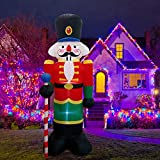 FARONZE Christmas Inflatable Giant Lighted Interior/Airblown Inflatable Christmas Decoration with Built in Fan and Anchor Ropes (Nutcracker)