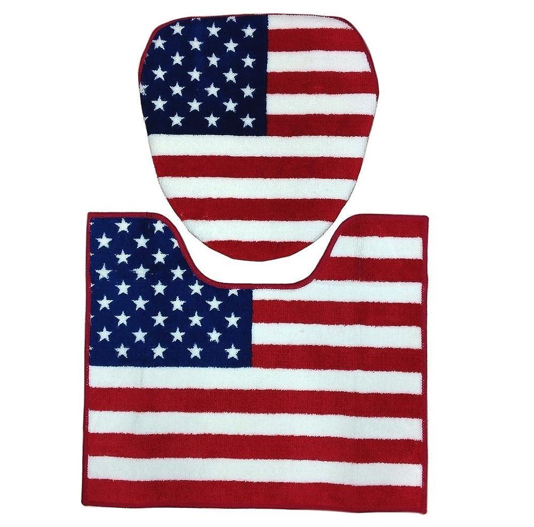 ギャップリテラシー受粉者トイレカバー&トイレマット セット アメリカン アメカジ アメリカ 雑貨 (ウォシュレットサイズ(洗浄機能付きタイプ), USA FLAG (星条旗))