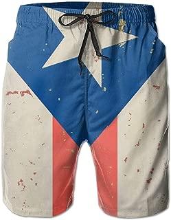 Boys Male Novelty Beachwear Swim Trunks Puerto Rican Flag Water Resistant Running Outdoors Beach Summer with Pockets