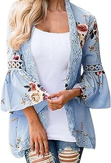 CUCUHAM Women Lace Floral Open Cape Casual Coat Blouse Kimono Jacket Cardigan