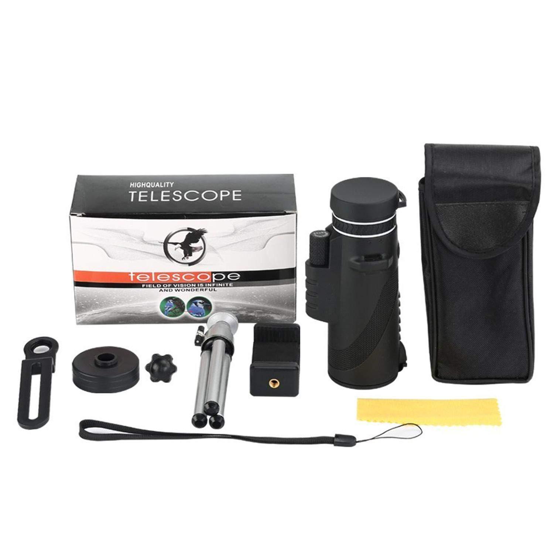 Clip Monocular tr/ípode perfk Port/átil HD Metal 4K 10-300X40mm Monocular telescopio BAK4 Prism FMC lente impermeable estirable para avistamiento de aves senderismo