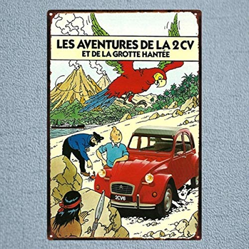 SZLGPJ France Tintin Cartoon Movie Tin Sign Metal Plate Iron Painting Kids Room Wall Bar Home Art Craft Decor 30x20cm 20x30cm DU1041