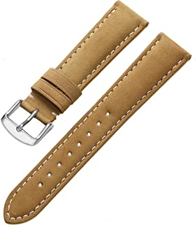 Genuine Calfskin Leather Watch Band 22mm 21mm 20mm 19mm 18mm Padded Strap Steel Spring Bar Buckle Super Soft for Men and Women (Six Color Choose)