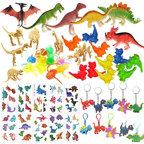 ASYBHYY 52 Pcs Granel Juguetes de Dinosaurios Surtidos Aspecto Realista - Juguete de Dedo, Pulsera, Tatuajes y Silbato para Niños Dinosaurios de Cumpleaños Piñata Rellenos y Bolsas Regalo de Fiesta