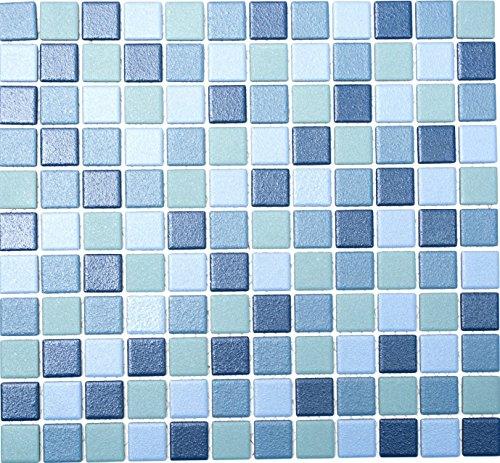 Mosaik-Netzwerk Mosaikfliese Quadrat mix blau rutschhemmend R10B Keramik rutschsicher trittsicher anti slip rutschfest Duschtasse Boden Küche Bad WC, Mosaikstein Format: 2,5x2,5x6 mm, Bogengröße: 330x302 mm, 10 Bögen