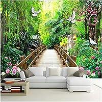 Xbwy 装飾壁画壁壁画壁紙ガーデンパークウッドブリッジ風景壁紙リビングルームの家の装飾-200X140Cm